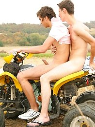 Two sexy boys fuck in ass each other outdoors