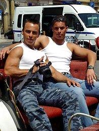 Two muscled Czech boys